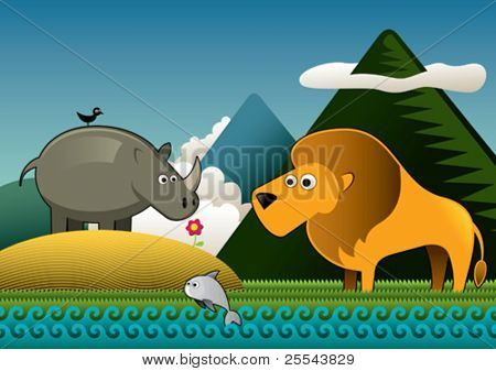 Tropical landscape with wild animals. Vector illustration.