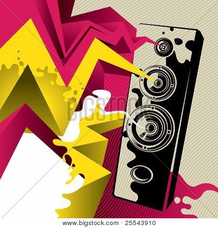 Artistic banner with giant speaker. Vector illustration.