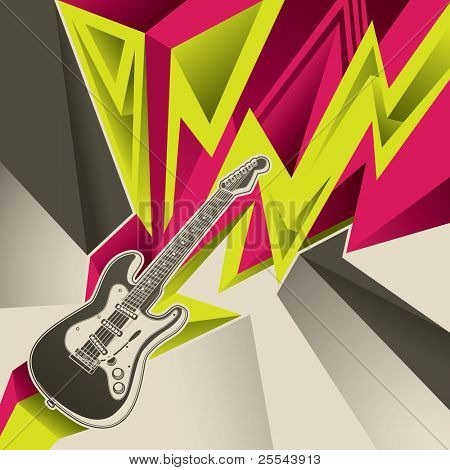 Abstract banner with electric guitar. Vector illustration.