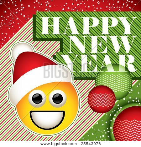 Funny New Year banner with smiley.