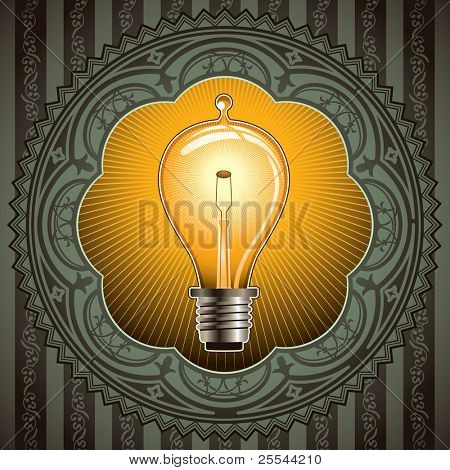 Vintage background with old bulb. Vector illustration.