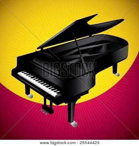 Estilizada ilustración de piano grande. Ilustración del vector.