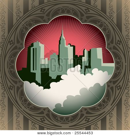Vintage background with stylized city panorama. Vector illustration.