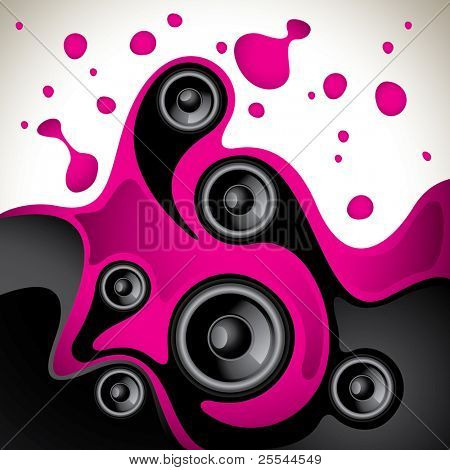 Abstract fluid background with speakers. Vector illustration.
