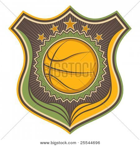 Illustrated retro basketball crest. Vector illustration.
