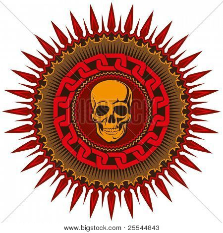 Illustrated decorative badge with stylized skull. Vector illustration.