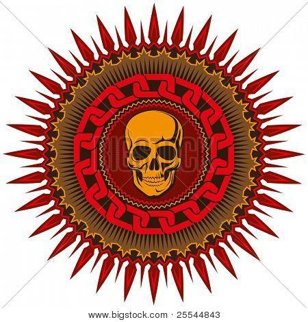 Ilustrado emblema decorativa com caveira estilizada. Ilustração vetorial.
