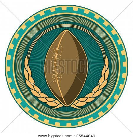 Illustrated retro american football badge. Vector illustration.