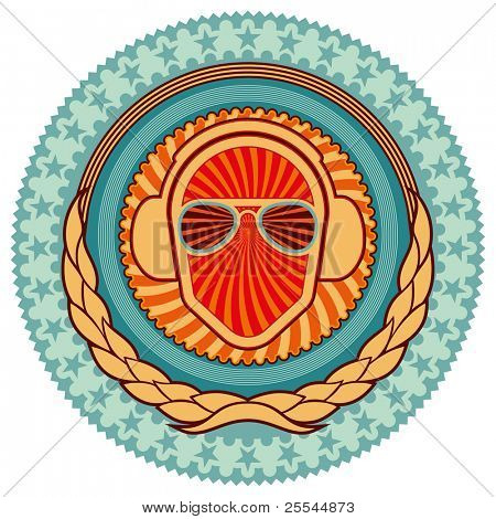 Illustrated colorful clubbing emblem with decoration. Vector illustration.