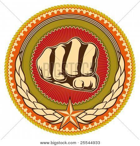 Illustrated retro emblem with fist. Vector illustration.