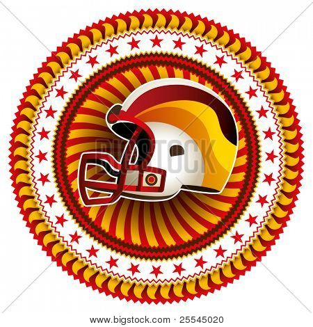 Stylish label with american football helmet. Vector illustration.
