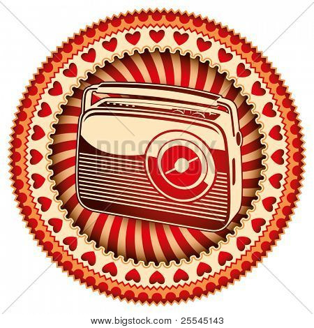 Stylish label with retro radio. Vector illustration.