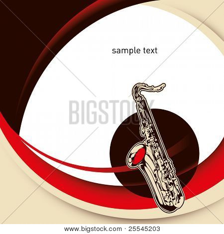Modernistic designed layout with saxophone. Vector illustration.