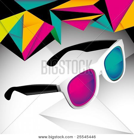 Modish funny background with sunglasses. Vector illustration.