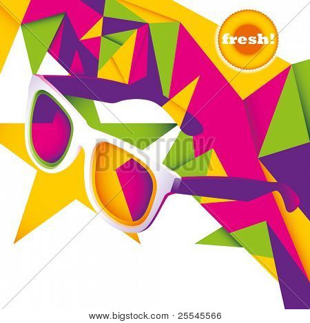 Abstract summer layout with sunglasses. Vector illustration.