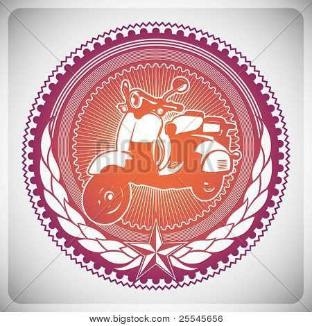 Illustrated modish emblem with scooter. Vector illustration.
