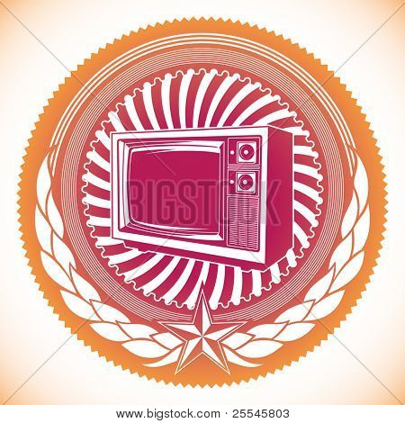 Modish emblem with retro tv. Vector illustration.