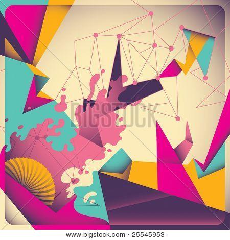 Abstração retrô colorida. Ilustração vetorial.