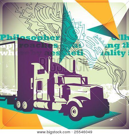 Illustrated transportation background. Vector illustration.
