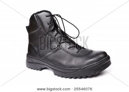 Army Boot Isolated On White.