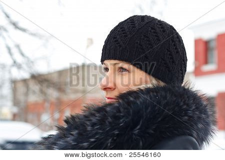 Young Blond Woman Outdoor Winter Portrait.