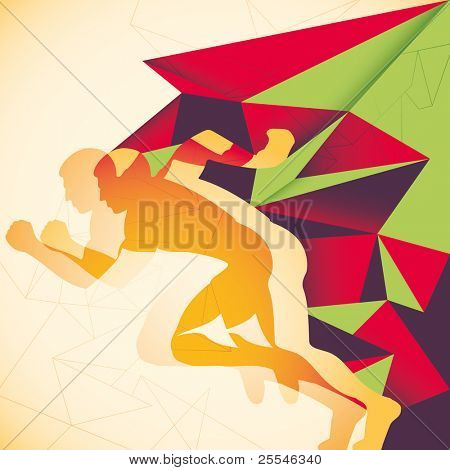 Abstraction with runner. Vector illustration.
