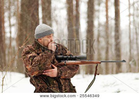Smoking Hunter With Rifle.