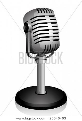 Retro microphone isolated on white. Vector illustration.
