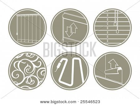 Icons: window blinds, decoration, back-lights, paperhanging.