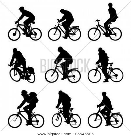 Silhouette bicycles. Vector - illustration.