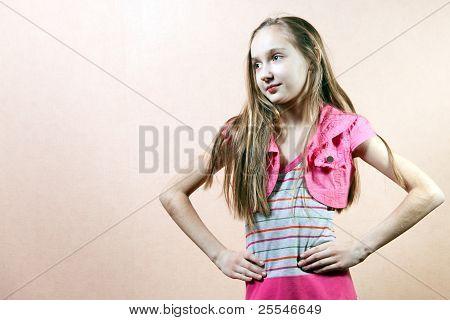 Long Hair Teen Girl Standing.