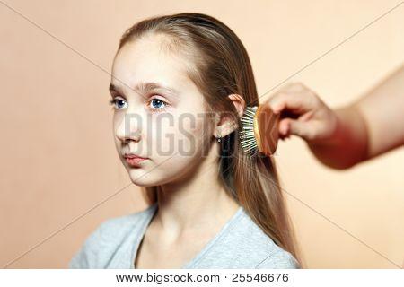 Teen Model Combing.
