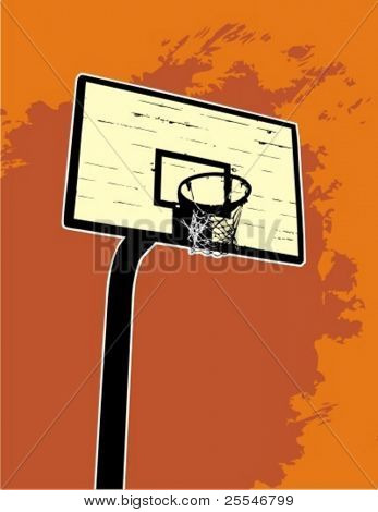 Basketball backboard on the orange background vector illustration