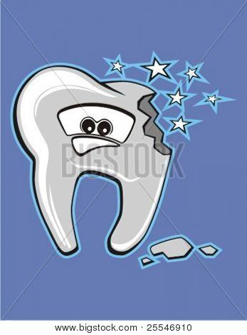 Vector cartoon broken tooth, worried character.