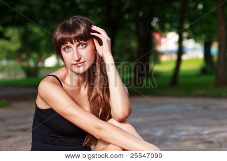 Caucasian Long Hair Girl`s  Portrait At Park.