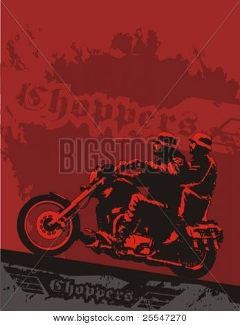 Chopper with riders. Vector grunge background illustration.