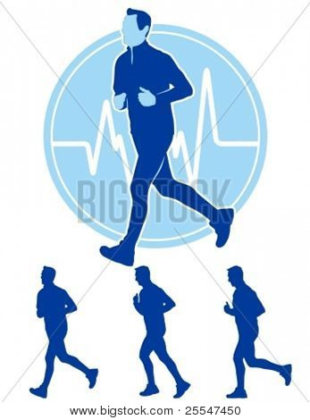 Vector illustration of male runner with pulse trace.