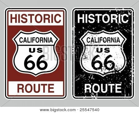 Vector illustration of a distressed historic route 66 road sign.