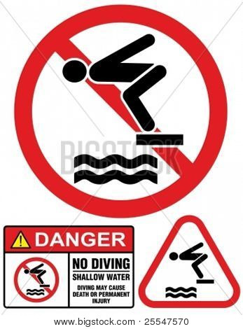 No diving and jumping, hazard-warning sign.