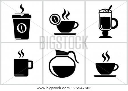 Vector black coffee icons set. All white areas are cut away from icons and black areas merged.