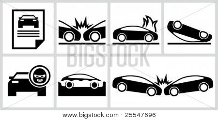 Car insurance icons set. All white areas are cut away from icons and black areas merged.