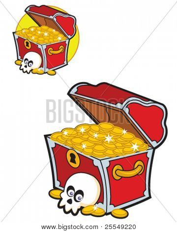 Funny Pirate Treasure Chest full of golden coins