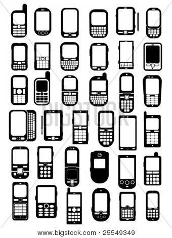 Cellphones and smartphones icons in vectors