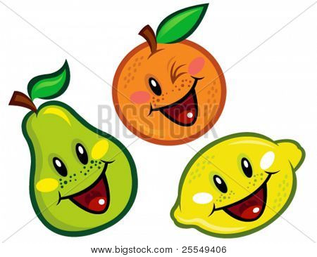 Happy Fruit Characters