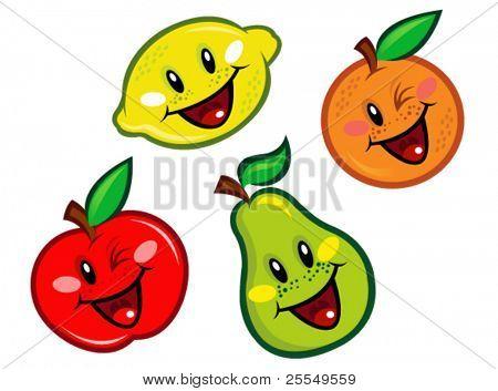 Caracteres de frutas feliz