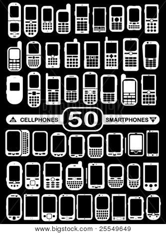 50 Vector Smartphones and Cellphones