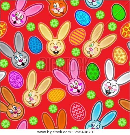 Easter seamless pattern with eggs and rabbits in red background