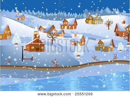 christmas landscape on the riverside