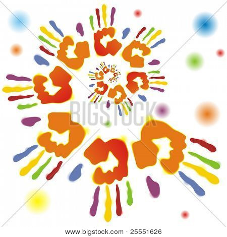 Background with color traces of hand. Water color traces.(vector illustration)