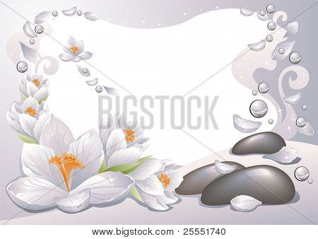 SPA frame with flowers, petals and water drops. (AI, CDR)